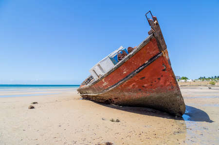 Ship at Magaruque island formerly Ilha Santa Isabel is part of the Bazaruto Archipelago off the coast of Mozambique. Stock fotó
