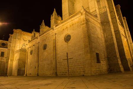 Night scene of famous Avila cathedral, Castilla y Leon, Spain. Stock Photo