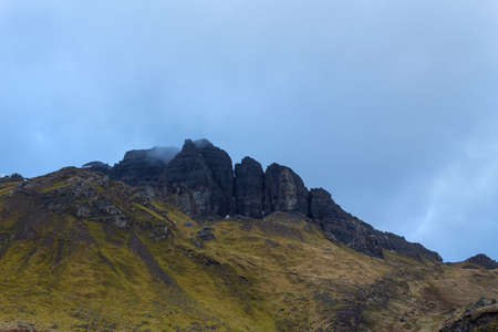 The landscape around the Old Man of Storr and the Storr cliffs, the famous attraction in Isle of Skye, Scotland, United Kingdom Stock fotó