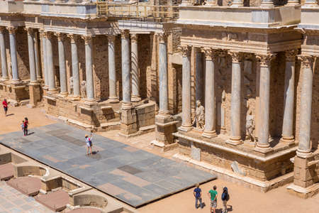 MERIDA, SPAIN: Antique Roman Theatre in Merida, Spain. Built by the Romans in end of the 1st century or early 2nd century 報道画像