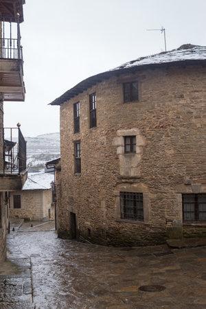 Old houses of Puebla de Sanabria with snow, Castilla y Leon, Spain