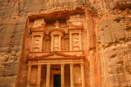 Famous facade of Ad Deir in ancient city Petra, Jordan. Monastery in ancient city of Petra. The temple of Al Khazneh in Petra is one of UNESCO World Heritage 報道画像