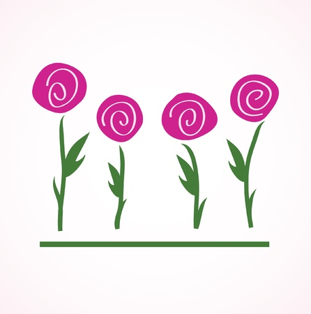 Floral vector card with abstract flowers Illustration