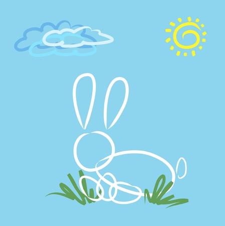 easter rabbit over blue. Vector illustration