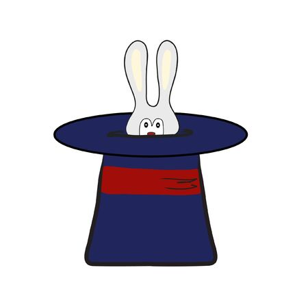 rabbit in magic hat. Vector illustration Vector