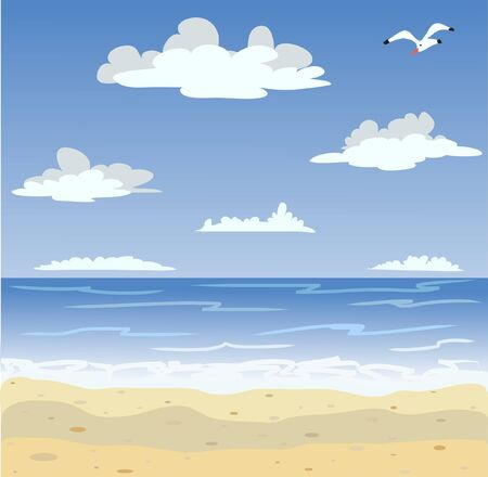gull: Vector illustration of sunny sea beach and blue sky Illustration