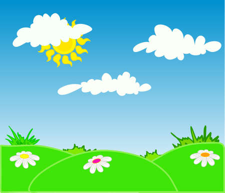 Vector illustration of spring landscape with green grass and blue sky Illustration