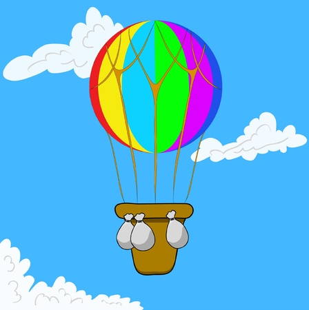 Multicolor Hot Air Balloon in blue sky. Vector illustration eps 10