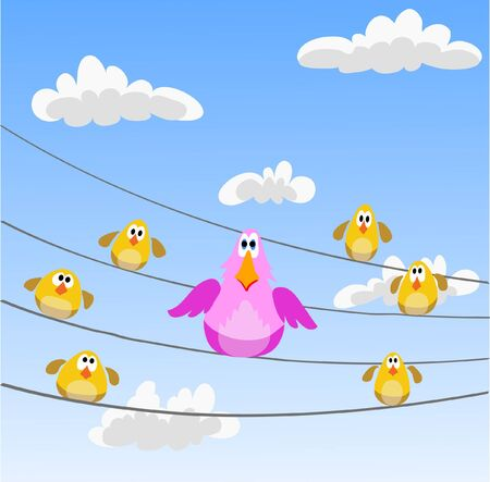 flock of birds sitting on wires Illustration
