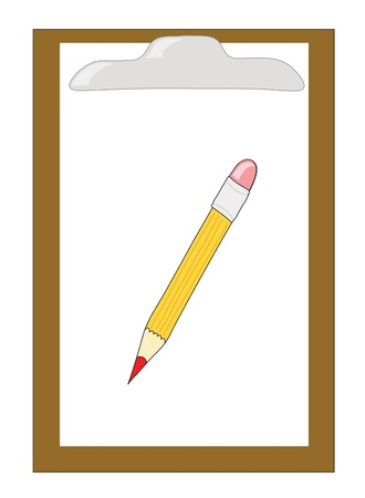wooden clipboard with pencil Stock Vector - 9297943