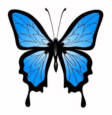 Abstract big beautiful blue butterfly Vectores