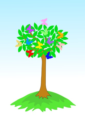 Beauty spring tree with butterflies and green leaves Illustration