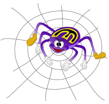 The ugly purple spider hangs on the web Иллюстрация