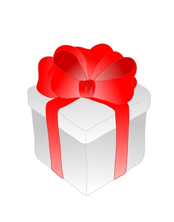 present box with red ribbon bow Stock Vector - 9297951