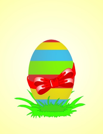 Easter egg decorated with red ribbon