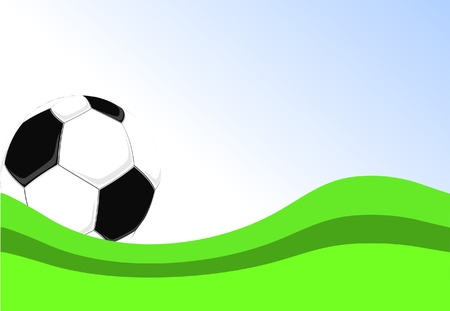 football poster with soccer ball and green grass