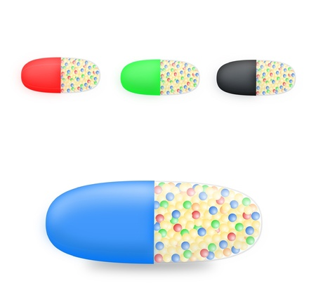 Colorful pill capsule on white.Vector illustration