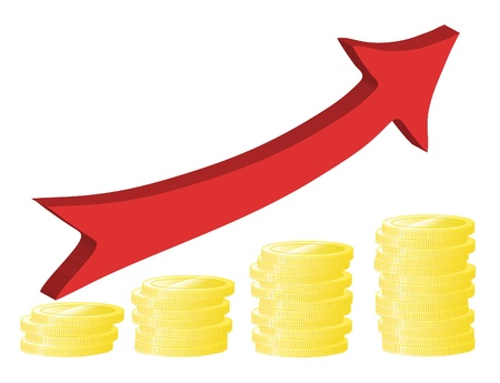 Financial success concept with golden coins