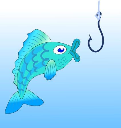 Vector illustration of fishing