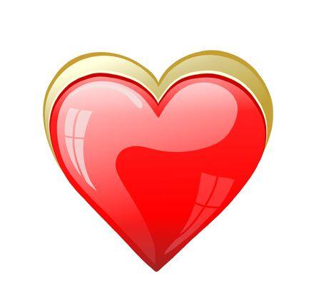 Vector red heart, symbol of love Illustration
