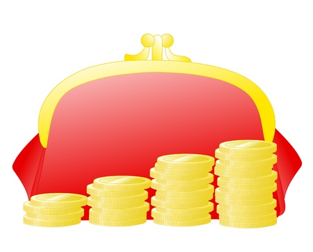 Financial concept : column of gold coins over red purse Illustration