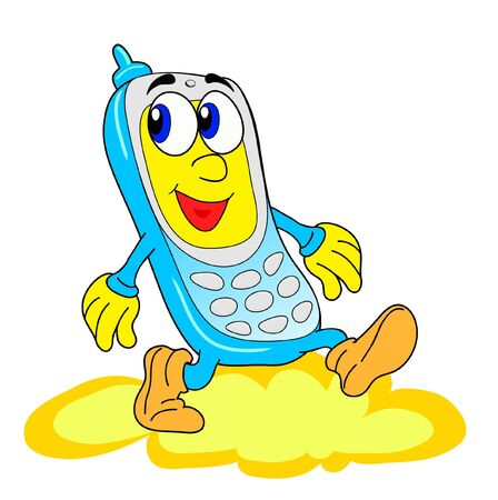Happy blue mobile phone.  Illustration