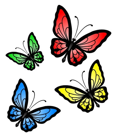 Set of abstract big colorful butterfly Illustration