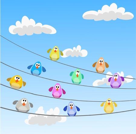 flock of multicolor birds sitting on wires Illustration