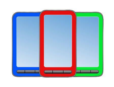 gprs: Three phone on white background.