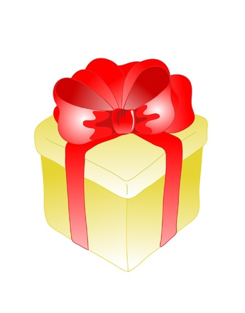 Golden present box with red ribbon bow
