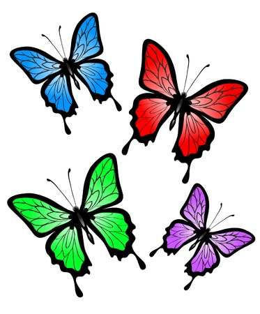 Set of abstract big colorful butterfly Stock Vector - 10030291