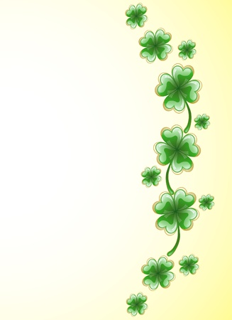 Frame in the form of scattered sheets of green clover Vector