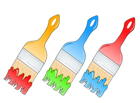 illustration of brushes with multicolor paints