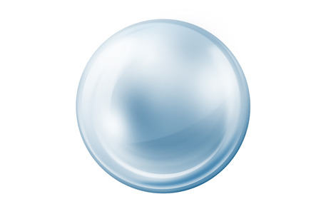 Empty Gray and Blue Glass Ball On White Background Stock Photo