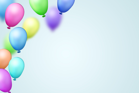 Light Blue Festive Background With Bright Colorful Air Balloons
