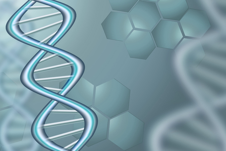Abstract Science Background In Blue Tone With DNA Strands