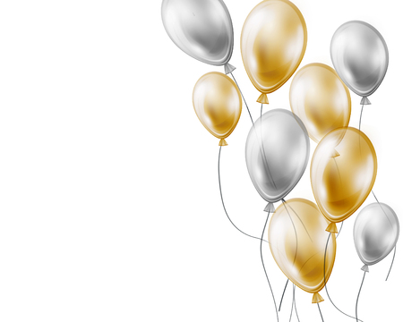birthday celebration: Holiday background with gold and silver air flying balloons on white Stock Photo