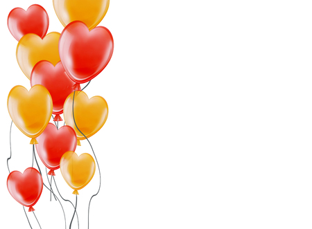 heart shaped: festive background with gold and red air flying balloons in form heart on white