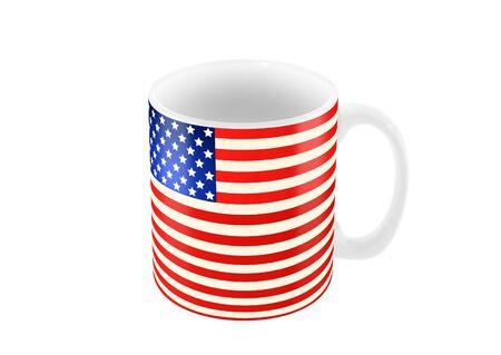 白地では、分離されたアメリカの国旗の色の大きなマグカップ 3 d イラストレーション 写真素材
