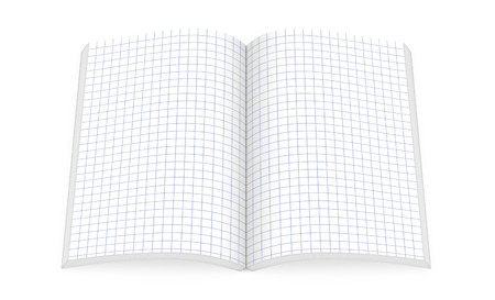 open notebook: Open notebook with square paper pages isolated on white, top view, 3d illustration Stock Photo