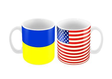 白地では、分離されたアメリカとウクライナの旗の色で 2 つの大きなカップ マグカップ 3 d イラストレーション