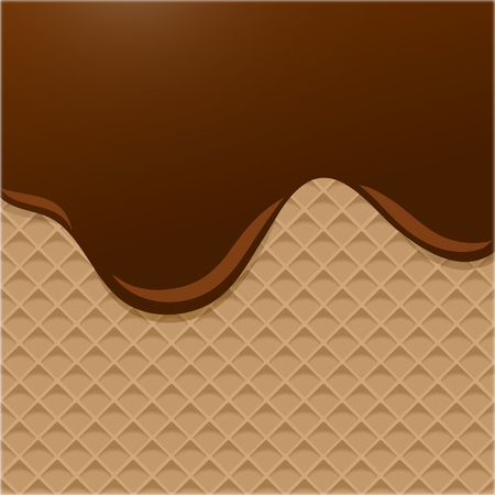Dark Chocolate Melted on Wafer Background. Vector Illustration, eps 10