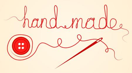 裁縫ハンドメイドのデザイン要素] ボタン、針と糸のアクセサリー。ベクトル図