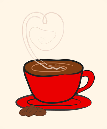 Cup (Mug) of Hot Drink Coffee with Heart Shape Symbol. Vector Illustration