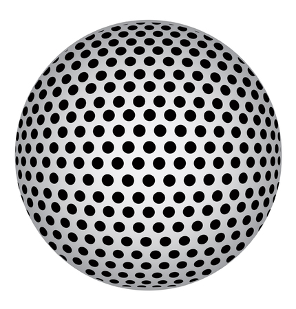 globe grid: Abstract 3D Sphere with Black Circle Dots. Vector Illustration Illustration