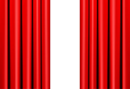 Red Curtain On Theater Or Cinema Stage on White. Vector Illustration