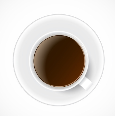 Black Coffee in White Cup. Vector Illustration