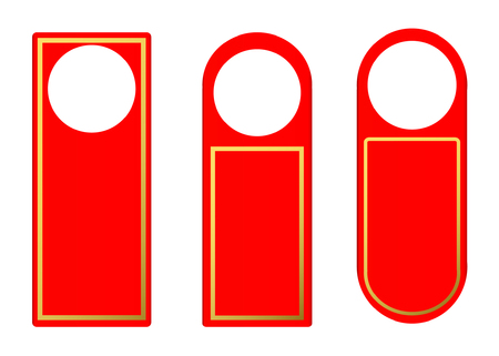 doorknob: Vector Set of Red Blank Paper Plastic Door Handle Lock Hangers