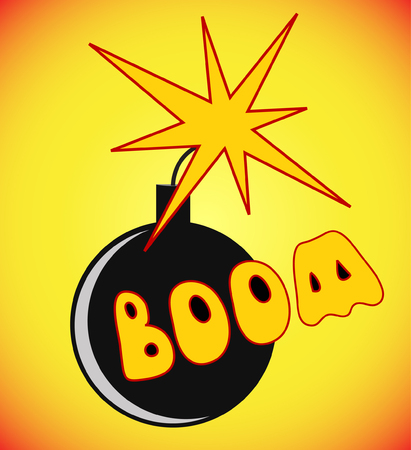 Comic book cartoon bomb with fire expression and boom text. Vector illustration