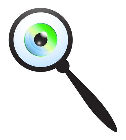 Magnifying glass and eyeball. Vector Illustration Illustration
